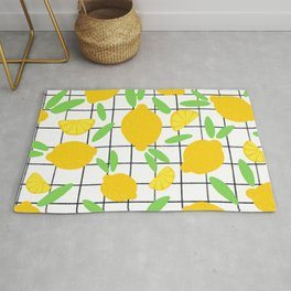 Lemon Pattern Grid Rug