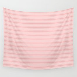 Wide Soft Blush Pink Mattress Ticking Stripes Wall Tapestry