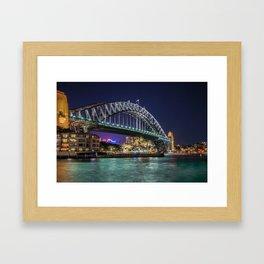 Sydney Harbor Bridge at Night Framed Art Print