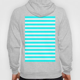 Horizontal Stripes (Aqua Cyan/White) Hoody
