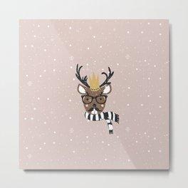 Holiday Deer Illustration Metal Print