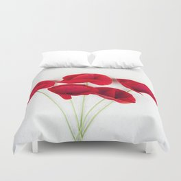 a Bunch Of Red Poppies Duvet Cover