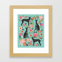Italian Greyhound pet portraits by pet friendly dog with florals pattern Framed Art Print