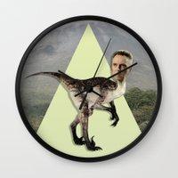 christopher walken Wall Clocks featuring Christopher Walken by Kalynn Burke