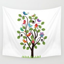 Colorful birds Wall Tapestry