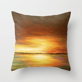 morning coffee and salt air Throw Pillow