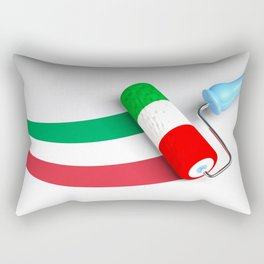 Roller paint brush giving to a white surface the colors of the italian flag - 3D rendering illustrat Rectangular Pillow