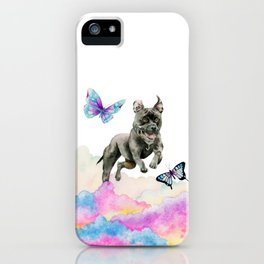 Leap! | Pit Bull Dog, Rainbow Clouds, and Butterflies iPhone Case