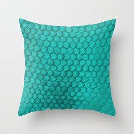 Teal Snake Skin Throw Pillow