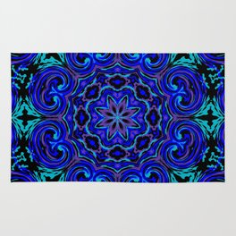 Bright Blue Kaleidoscope Rug