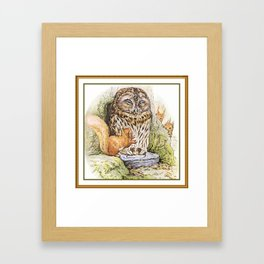 Squirrels tease a sleeping Owl Framed Art Print