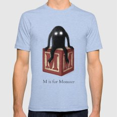 M is for Monster Tri-Blue Mens Fitted Tee LARGE
