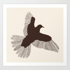 Bird (On Beige) Art Print