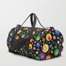 Folk - garden on black background Duffle Bag