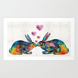 Bunny Rabbit Art - Hopped Up On Love - By Sharon Cummings Art Print