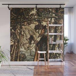 """""""Brunhilde Led Her Horse"""" by Arthur Rackham Wall Mural"""