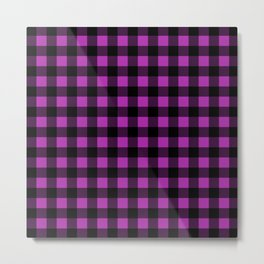 Plaid (Black & Purple Pattern) Metal Print