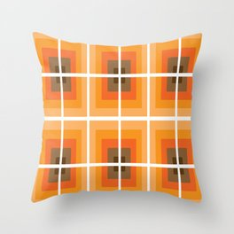 1970's Retro Orange Vibe Vintage Seventies Style Throw Pillow
