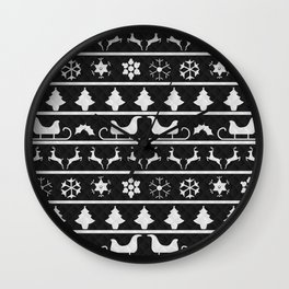 Black & White Ugly Sweater Nordic Knit Wall Clock