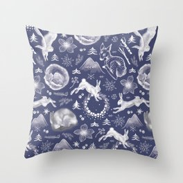 Winter Fauna Throw Pillow