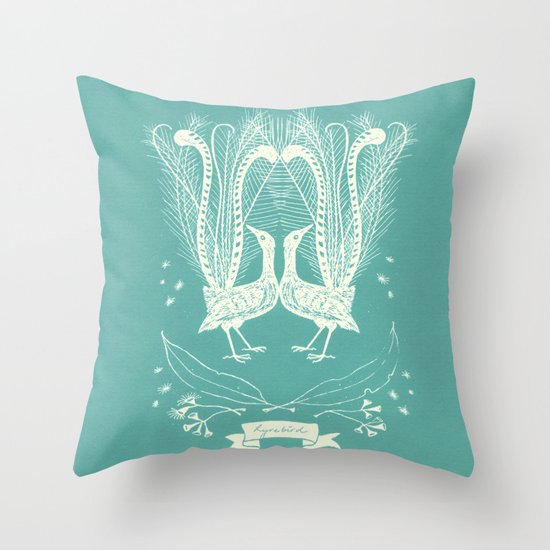 Lyrebird (eggshell blue) Throw Pillow