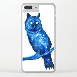Owl Painting | Space Owl | Owl Constellation | Cosmic Owl | Blue Owl Clear iPhone Case