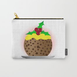 Christmas Pudding With Custard And Holly Sprig Carry-All Pouch