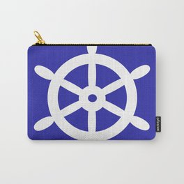 Ship Wheel (White & Navy Blue) Carry-All Pouch