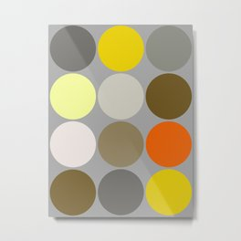 Mid-Century Giant Dots, Gray, Gold and Orange Metal Print