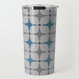 Mid Century Modern Star Pattern Grey and Blue Travel Mug