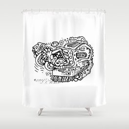 Going Places abstract creature doodle Shower Curtain