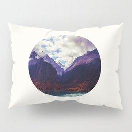 Mid Century Modern Round Photo Purple Parallax Mountains Meets Blue Valley Lake With Autumn Trees Pillow Sham