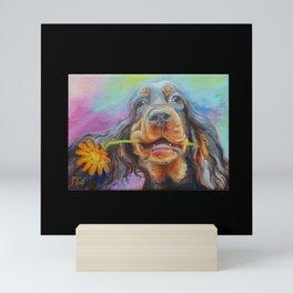 Black Valentine gift for Gordon Setter Dog Lover Mini Art Print