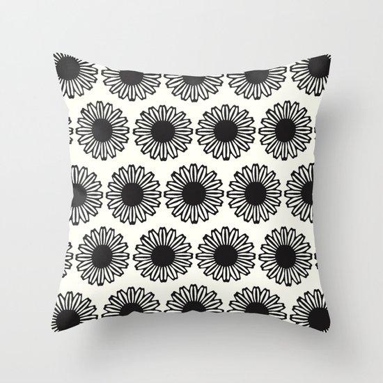 vintage flowers black Throw Pillow