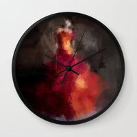dress Wall Clocks featuring Fire dress by Dnzsea
