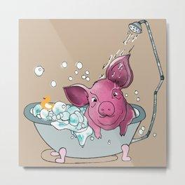 Piggy Shower Illustration Metal Print