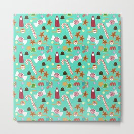 Christmas Sweeties Candies, Peppermints, Candy Canes and Chocolates on Tiffany Aqua Metal Print