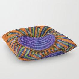 Orange and purple Floral batik Floor Pillow