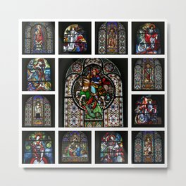 Stained Glass Windows Collage Metal Print
