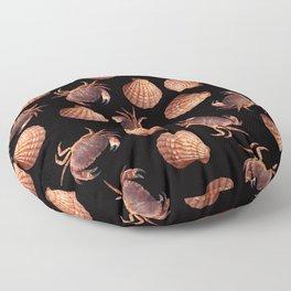 Scallop Crab pattern design black Floor Pillow