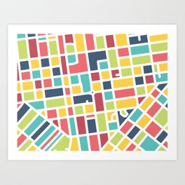 Lancaster, PA Block Map Art Print