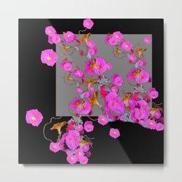 Pink Morning Glories on Black Art Design Metal Print
