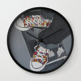 Flowered Converse shoes on a swing Wall Clock