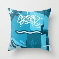 crystal Throw Pillows featuring CRYSTAL by clogtwo