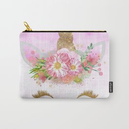 Pink Unicorn and Gold Stars Carry-All Pouch