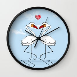 Heron Birds In Love Wall Clock