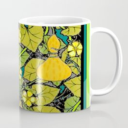 Green Art Nouveau Vines Gourds Floral Teal Art Coffee Mug