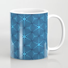 Art Deco Blue Star Motif Geometric Vintage Pattern Coffee Mug
