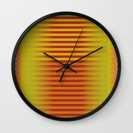 Yellow Orange Red Generative Stripes Wall Clock