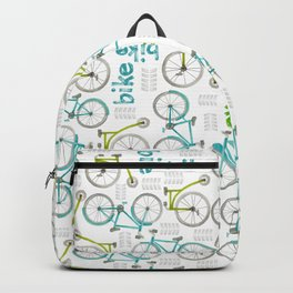 Watercolor Blue and Green Bikes Backpack